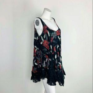 Free People Voile Lace Black Slip Swing Dress